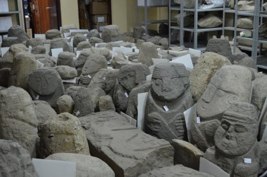 hundreds of huacas in the museum storeroom