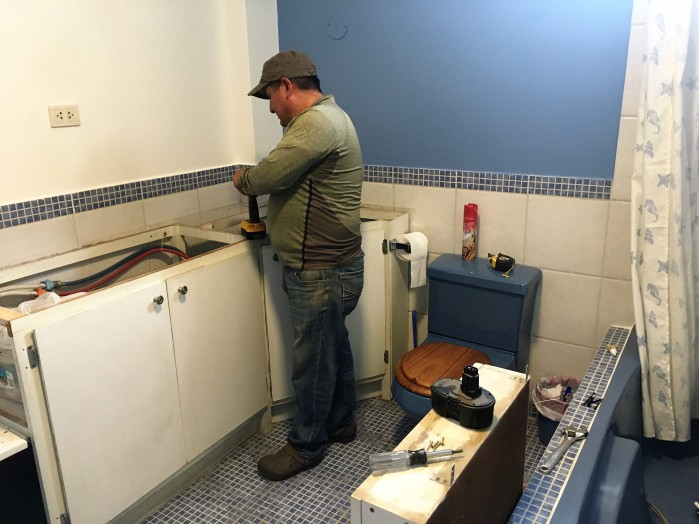 replacing the bathroom counter