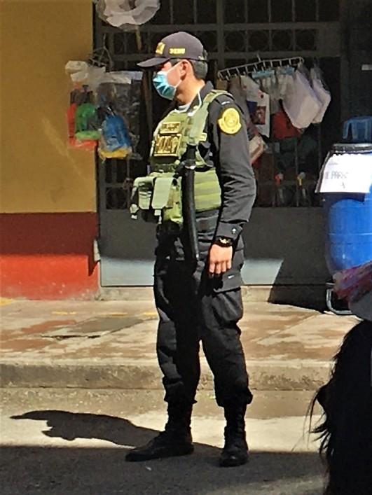 Police guarding market