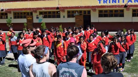 mission team singing for schoolkids